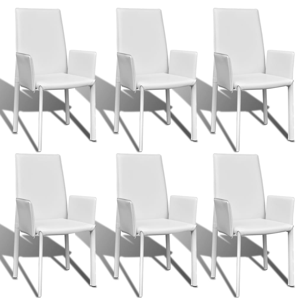 la boutique en ligne 6 pcs fauteuil de salle manger en similicuir blanc. Black Bedroom Furniture Sets. Home Design Ideas