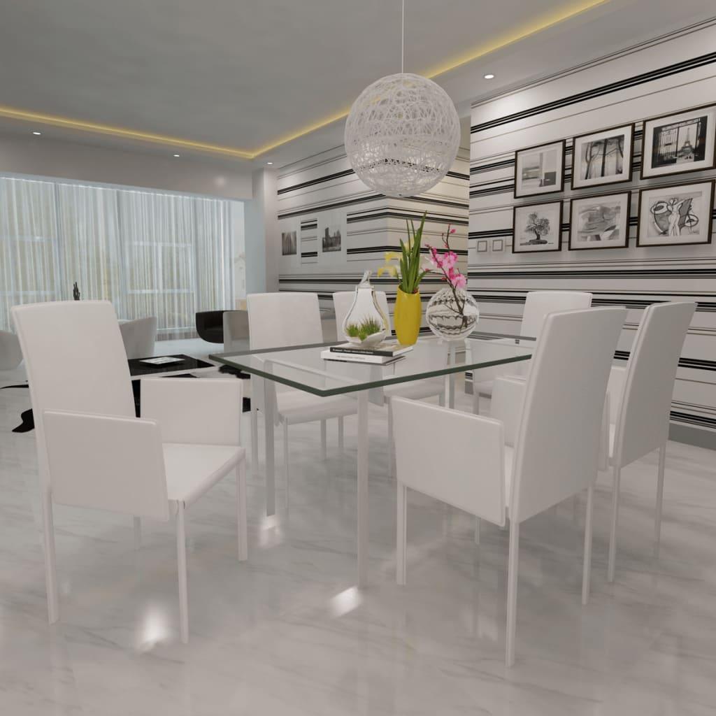 Acheter 6 pcs fauteuil de salle manger en similicuir for Fauteuil salle a manger blanc