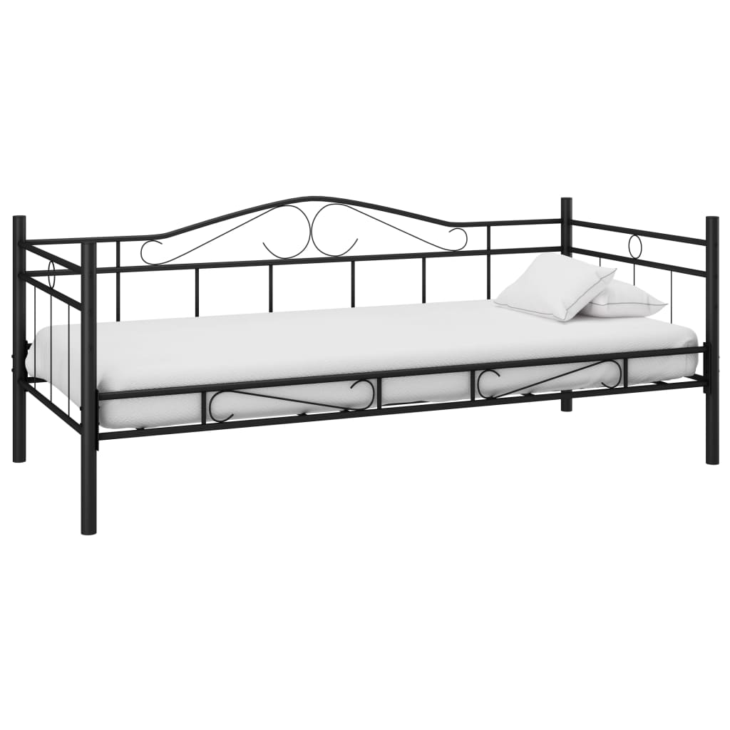 metallbett 90 x 200 cm schwarz matratze g nstig kaufen. Black Bedroom Furniture Sets. Home Design Ideas