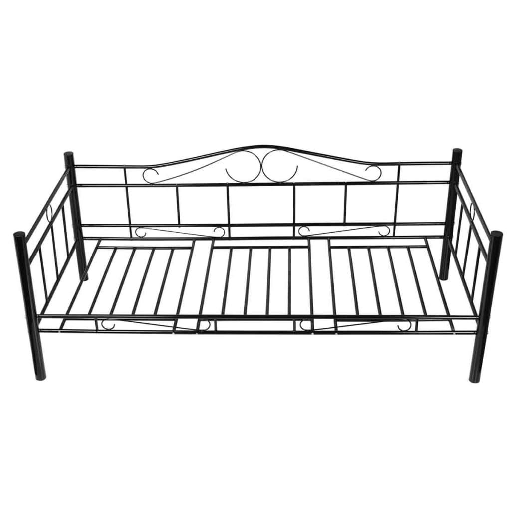 der metallbett 90 x 200 cm schwarz matratze online shop. Black Bedroom Furniture Sets. Home Design Ideas