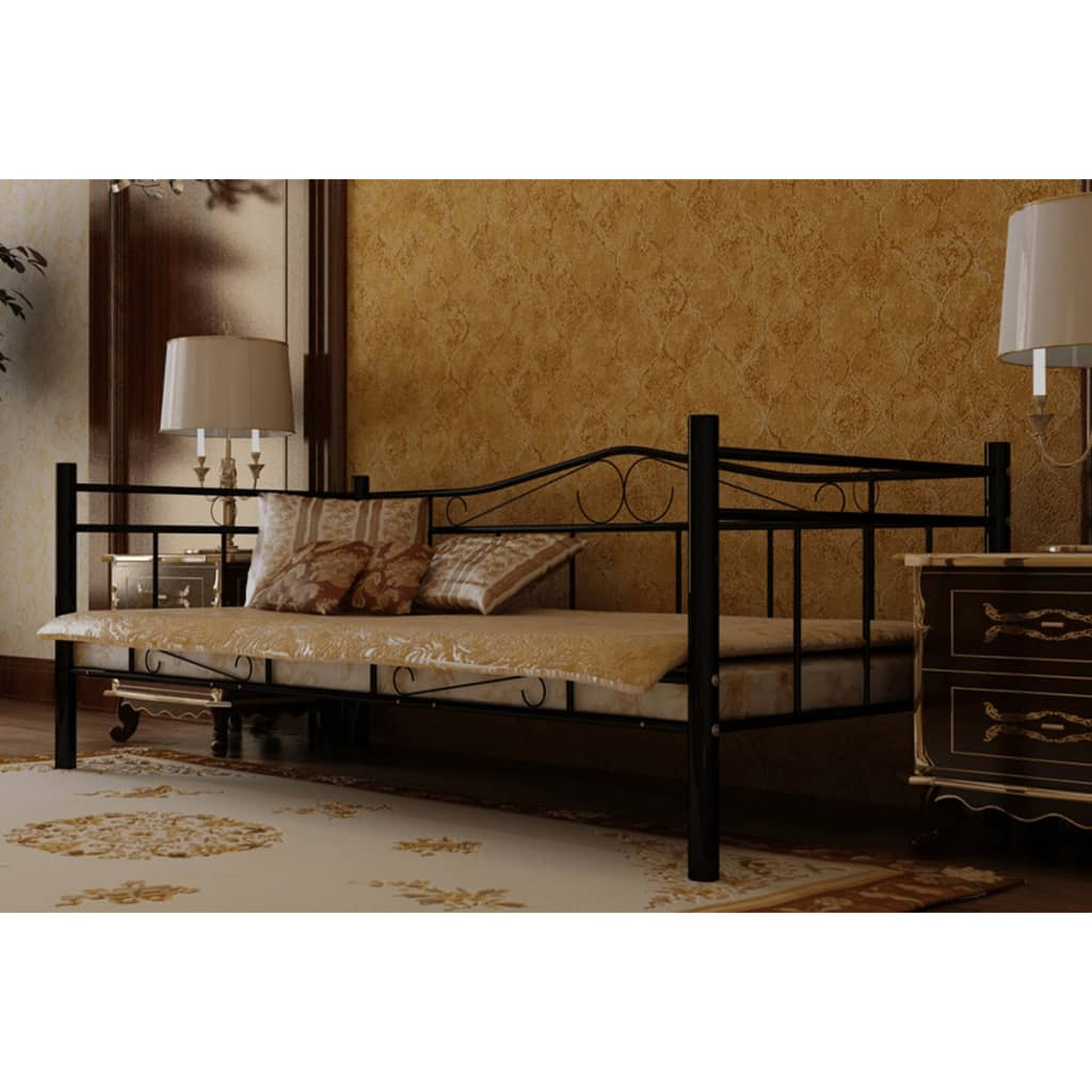 la boutique en ligne lit en m tal noir 90 x 200 cm avec. Black Bedroom Furniture Sets. Home Design Ideas