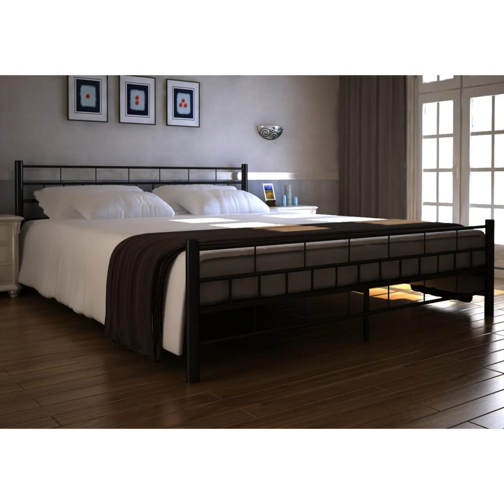 vidaXL 270709 Black Metal Bed 140 x 200 cm with Mattress