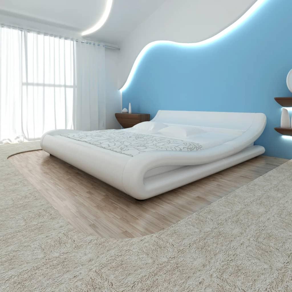 Cama doble blanca ondulada cuero artificial colch n 180 x for Cama blanca