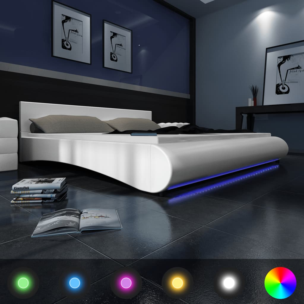 la boutique en ligne lit en simili cuir avec led bande matelas inclus 180 x 200 cm. Black Bedroom Furniture Sets. Home Design Ideas