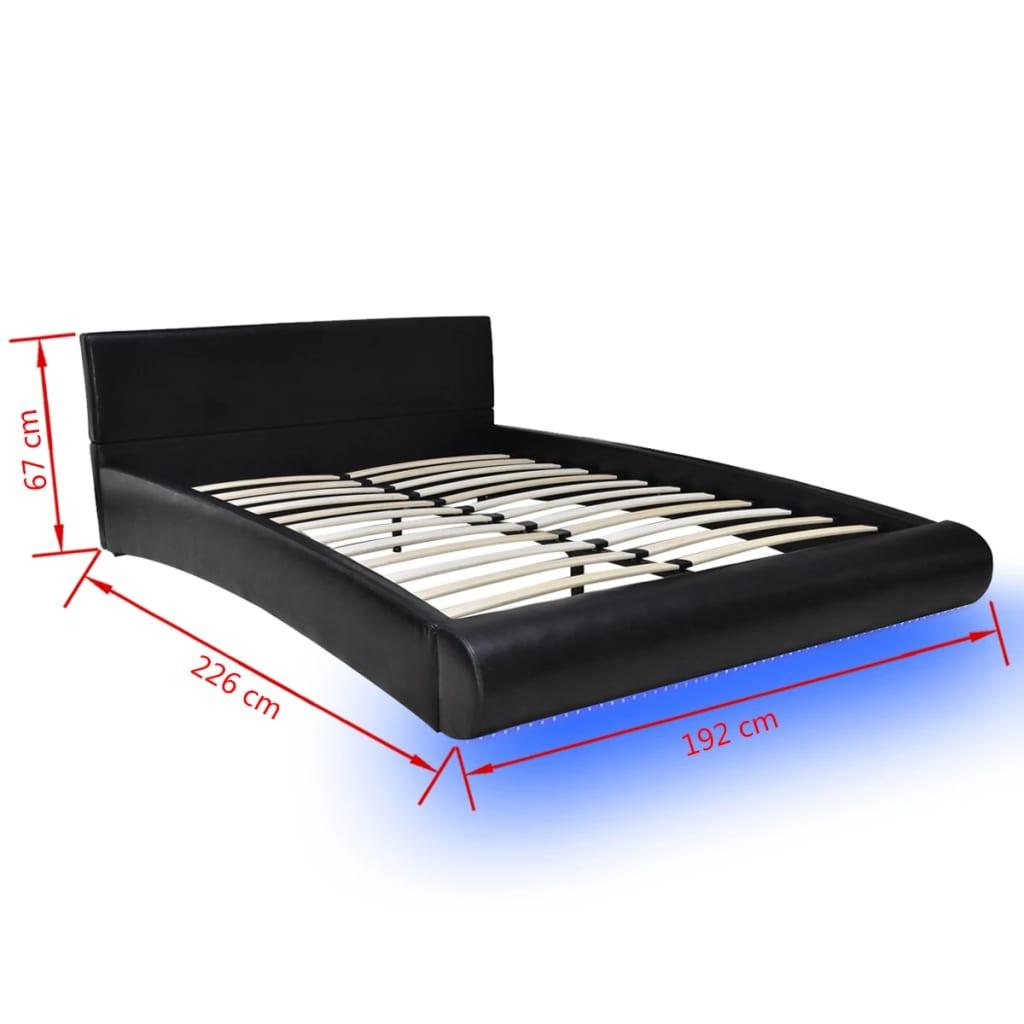 la boutique en ligne lit en simili cuir avec led bande matelas inclus 180 x 200cm noir. Black Bedroom Furniture Sets. Home Design Ideas