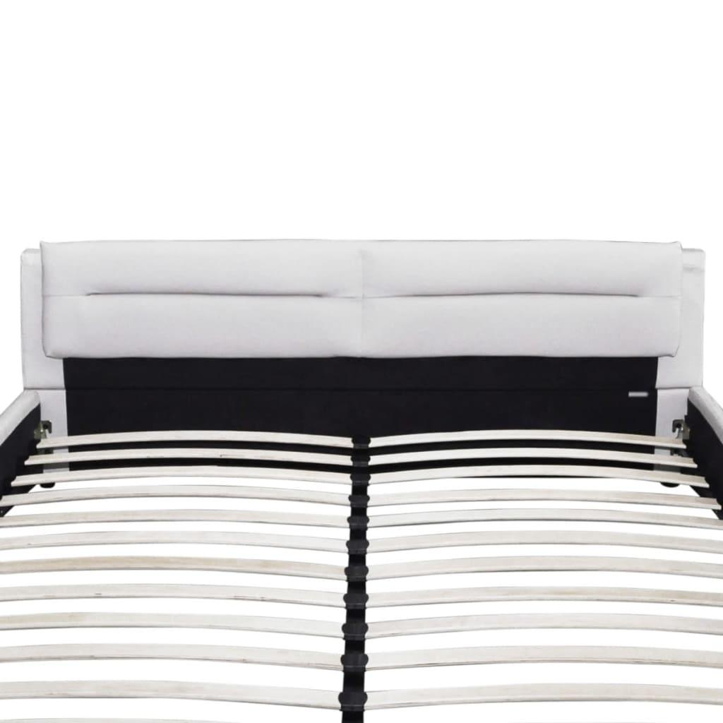 Cama de matrimonio cuero blanco artificial colch n 180 x - Camas de cuero ...