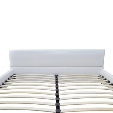 Hvid kunstlæder platform seng med madras 140 x 200 cm (240847  ...