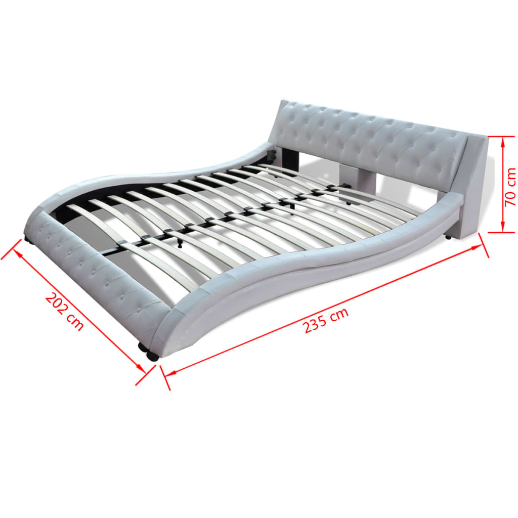 kunstlederbett geschwunges bett 180x200cm wei matratze g nstig kaufen. Black Bedroom Furniture Sets. Home Design Ideas