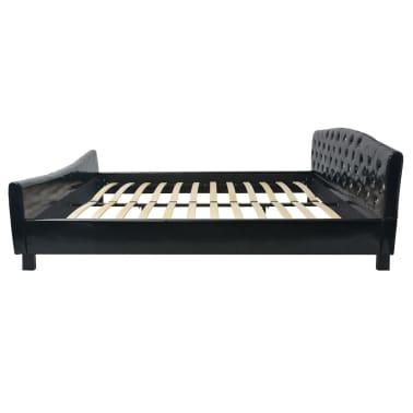 Sort højglans kunstlæder seng med akryl krystal knapper med madras ...