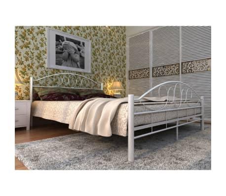 der metallbett doppelbett mit lattenrost wei 140x200 cm matratze. Black Bedroom Furniture Sets. Home Design Ideas