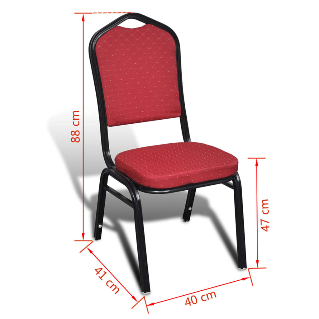 acheter 10 pcs chaise empilable rembourr e rouge pas cher. Black Bedroom Furniture Sets. Home Design Ideas