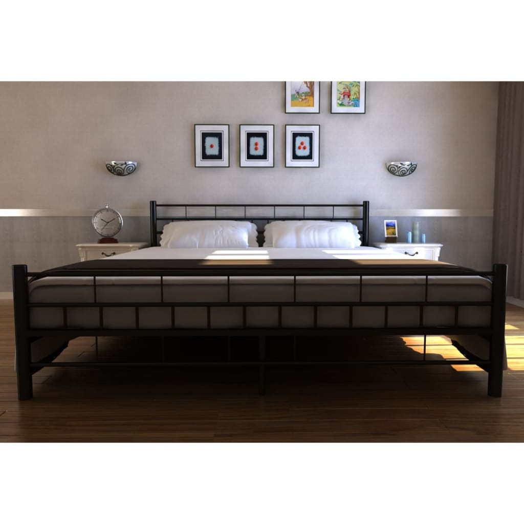 der metallbett doppelbett mit lattenrost schwarz 180 x 200 cm matratze online shop. Black Bedroom Furniture Sets. Home Design Ideas