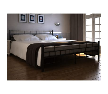 der metallbett doppelbett mit lattenrost schwarz 180 x 200. Black Bedroom Furniture Sets. Home Design Ideas