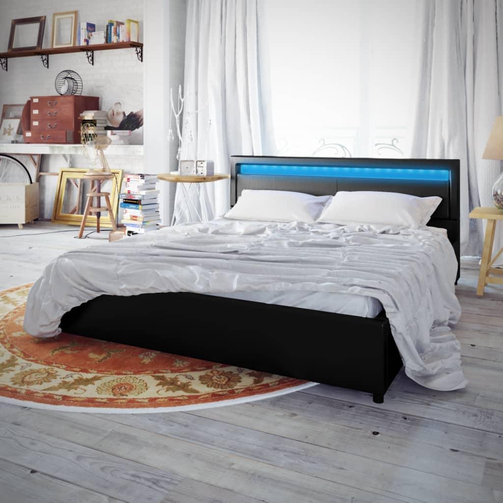acheter lit en similicuir avec t te de lit led 200 180 cm noir avec matelas pas cher. Black Bedroom Furniture Sets. Home Design Ideas