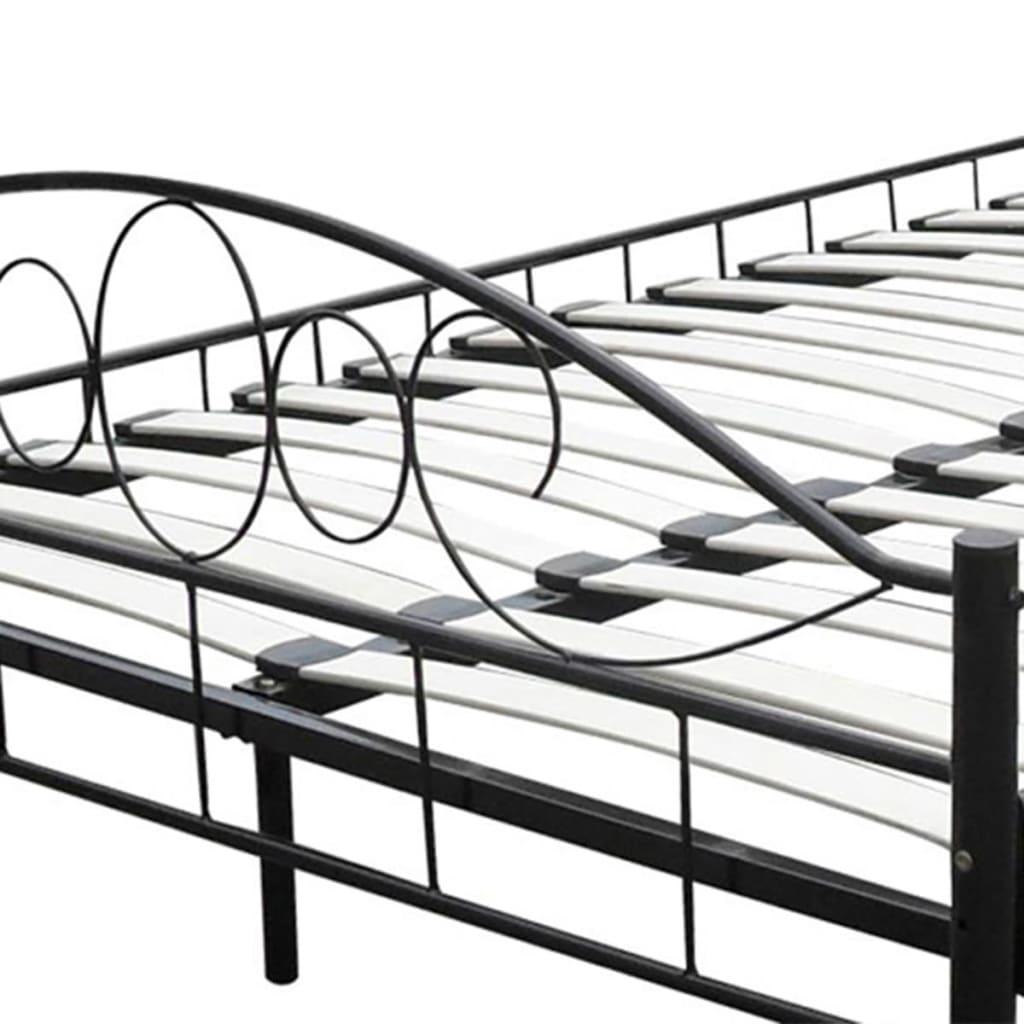 der metallbett doppelbett mit lattenrost schwarz 140x200. Black Bedroom Furniture Sets. Home Design Ideas
