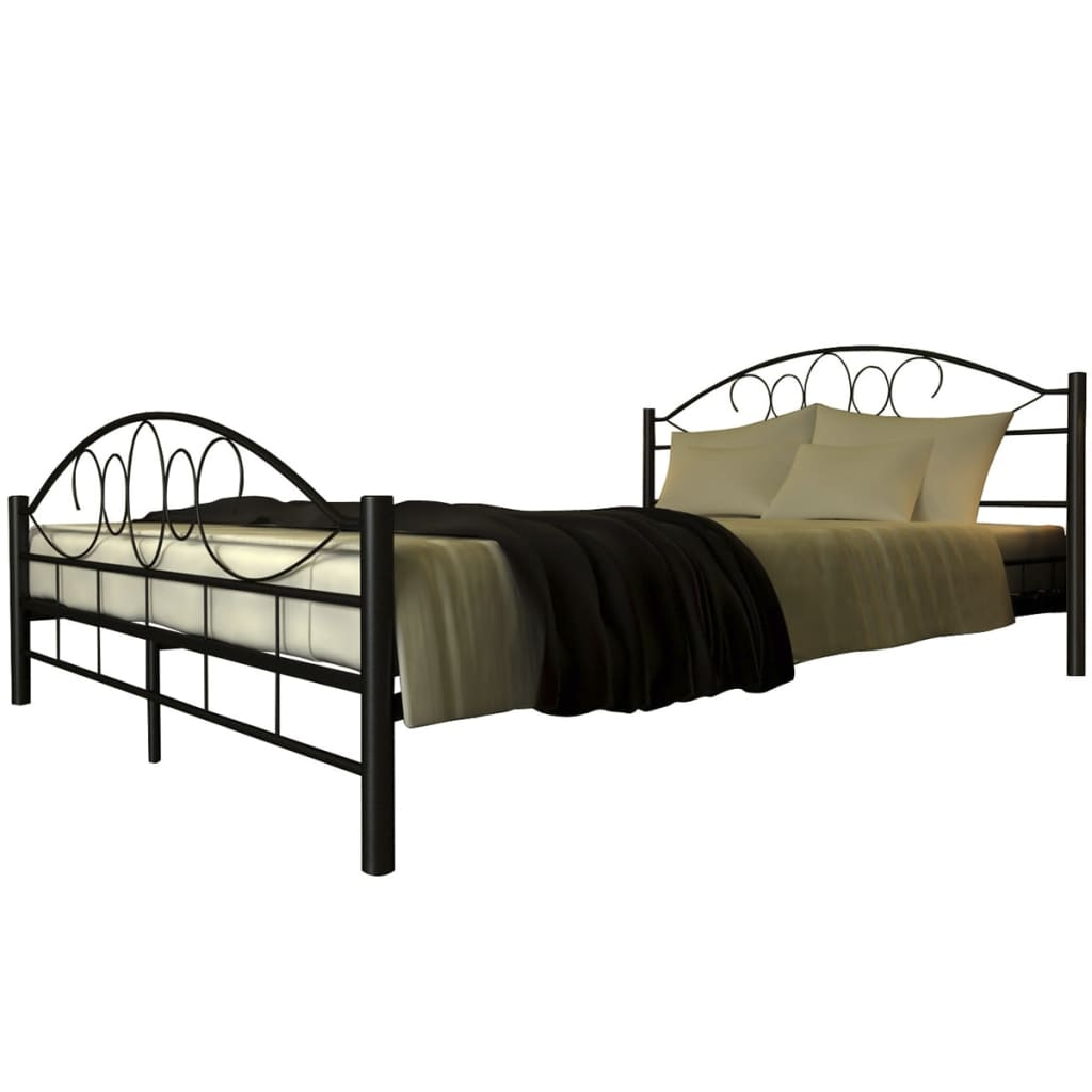 metallbett doppelbett mit lattenrost schwarz 140x200 cm matratze. Black Bedroom Furniture Sets. Home Design Ideas