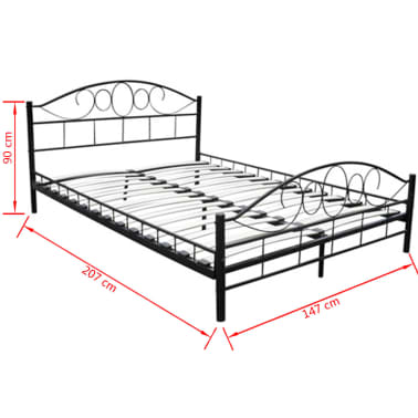 metallbett doppelbett mit lattenrost schwarz 140x200 cm. Black Bedroom Furniture Sets. Home Design Ideas