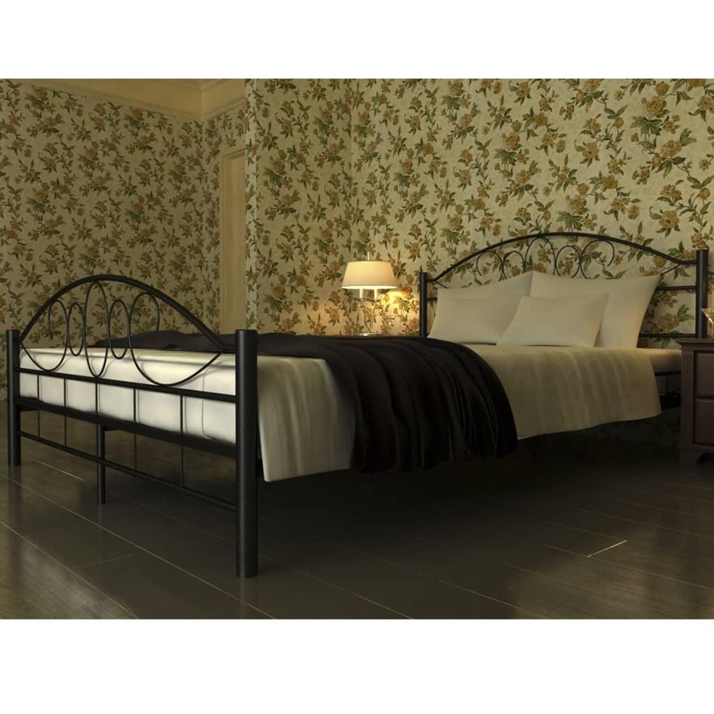 vidaXL Fém ágy matraccal 140 x 200 cm fekete