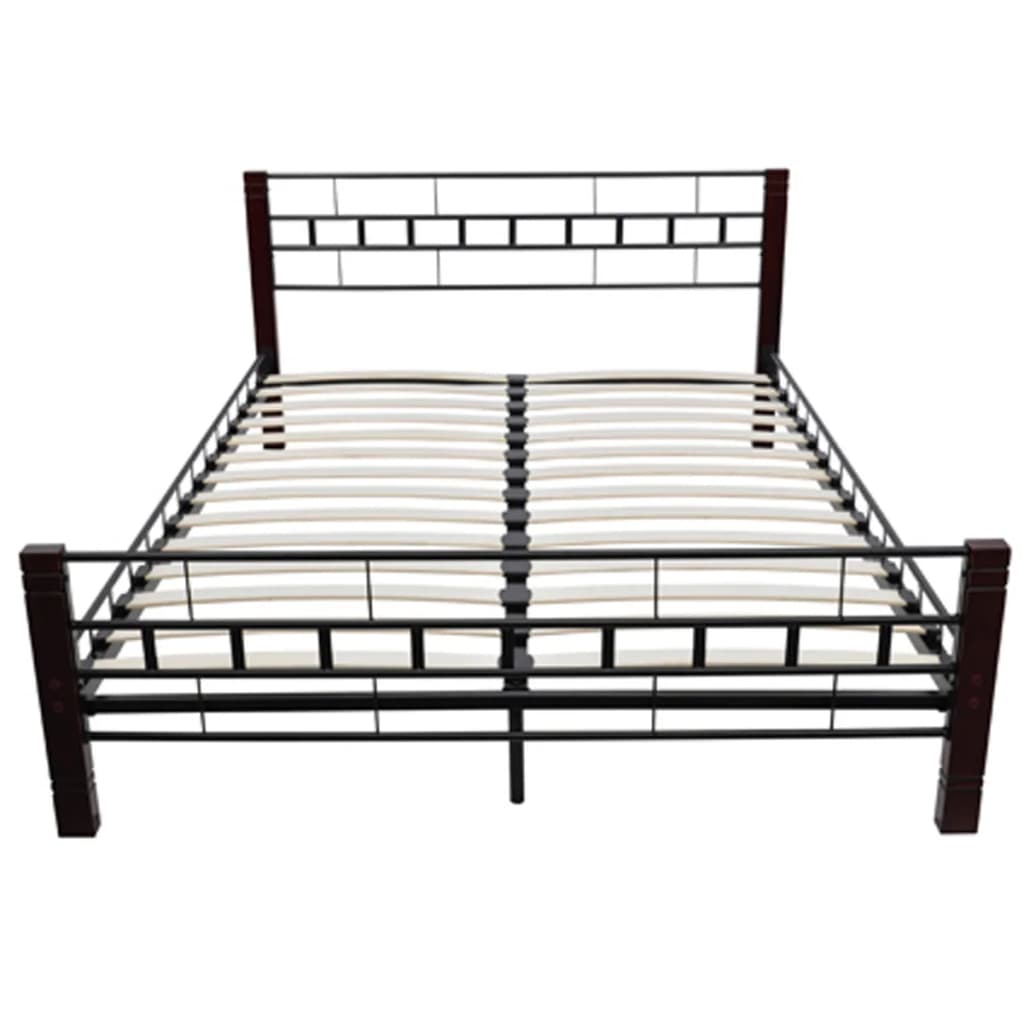 der metallbett mit lattenrost schwarz rostbraun 140x200 cm. Black Bedroom Furniture Sets. Home Design Ideas