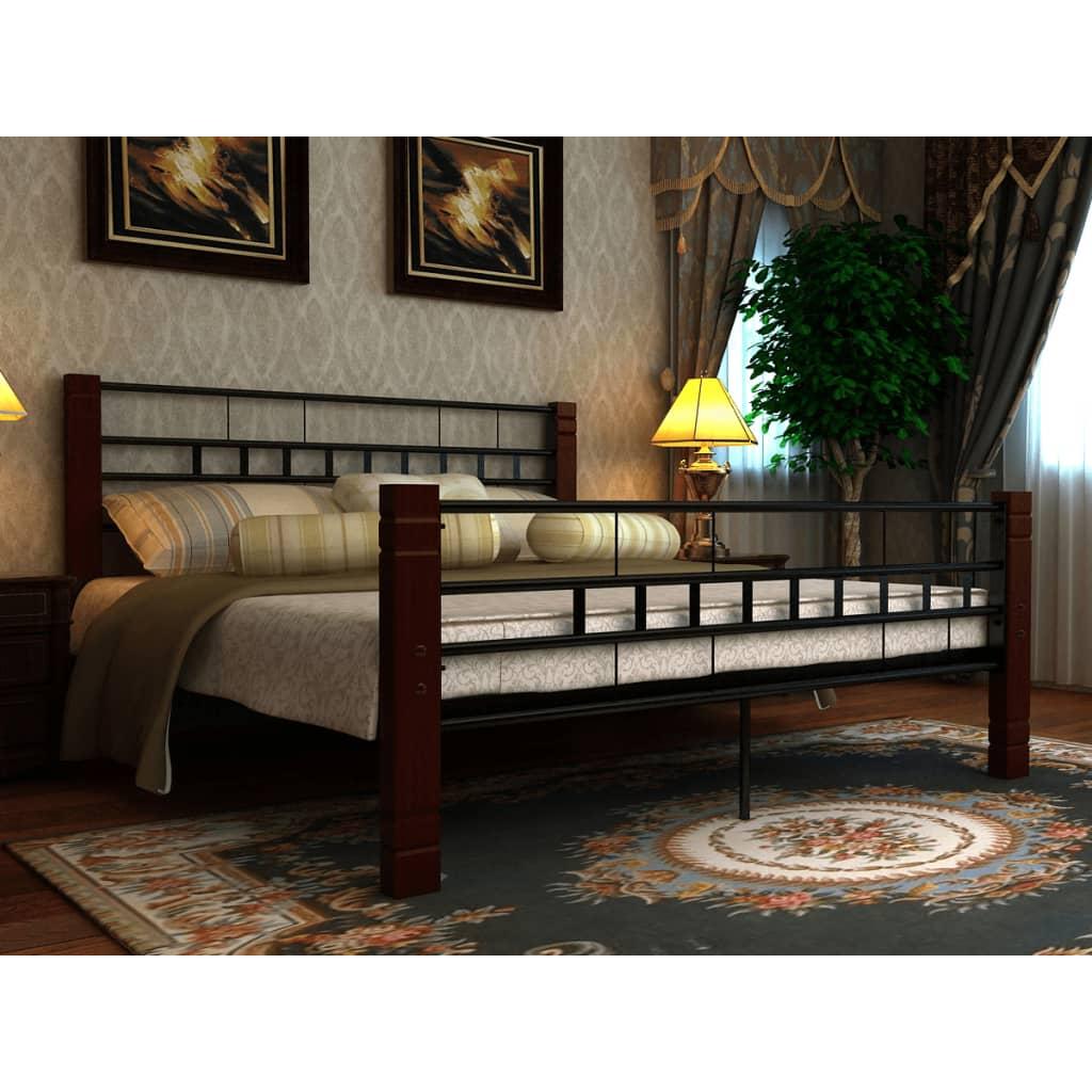 vidaXL Fém ágy matraccal 140 x 200 cm feketek, pirosas barna