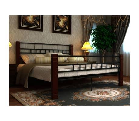 der metallbett mit lattenrost schwarz rostbraun 140x200 cm matratze. Black Bedroom Furniture Sets. Home Design Ideas