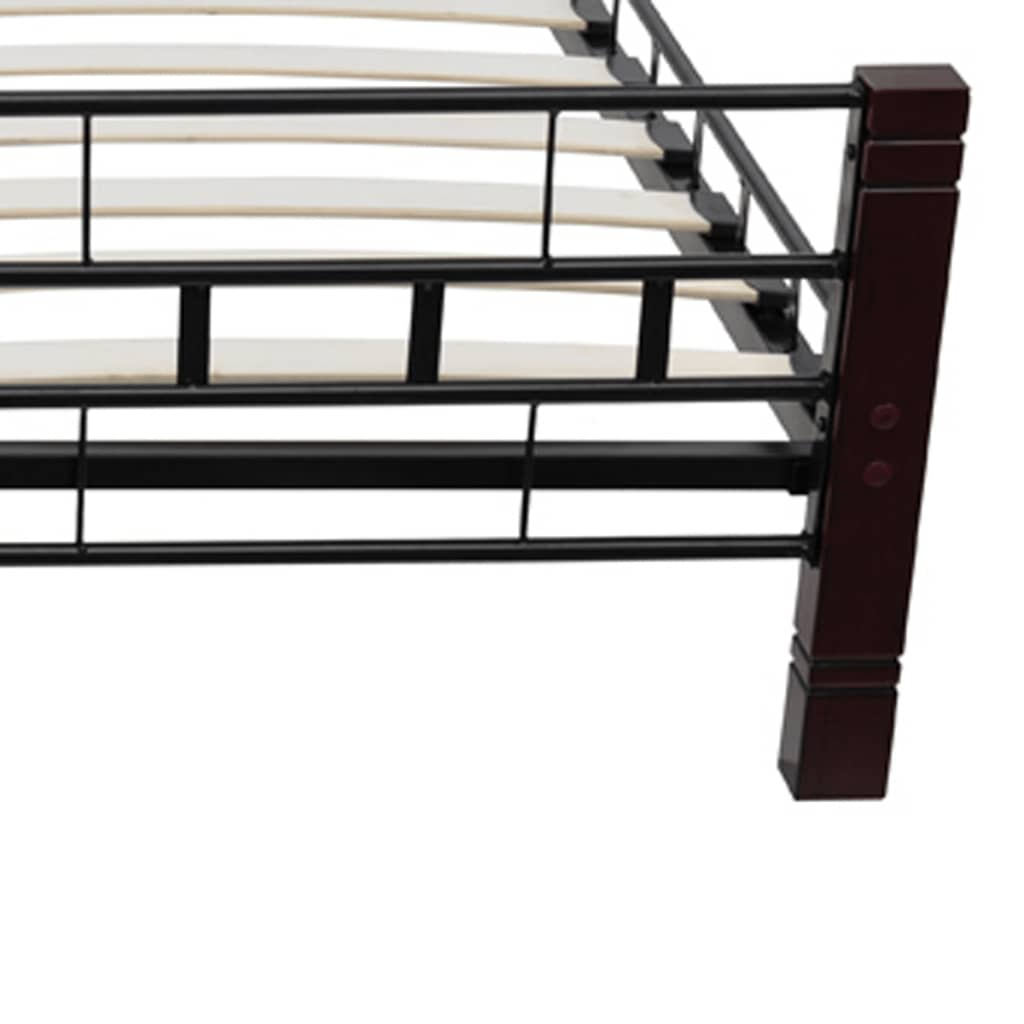 der metallbett mit lattenrost schwarz rostbraun 180x200 cm. Black Bedroom Furniture Sets. Home Design Ideas