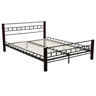 der metallbett mit lattenrost schwarz rostbraun 180x200 cm matratze online shop. Black Bedroom Furniture Sets. Home Design Ideas