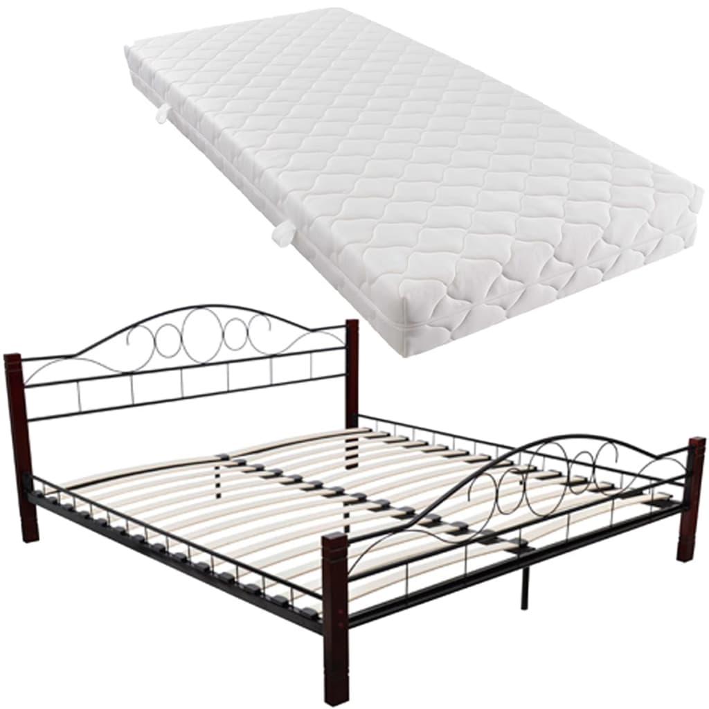 acheter lit adulte en m tal noir et rouge brun 140 x 200 cm avec matelas pas cher. Black Bedroom Furniture Sets. Home Design Ideas