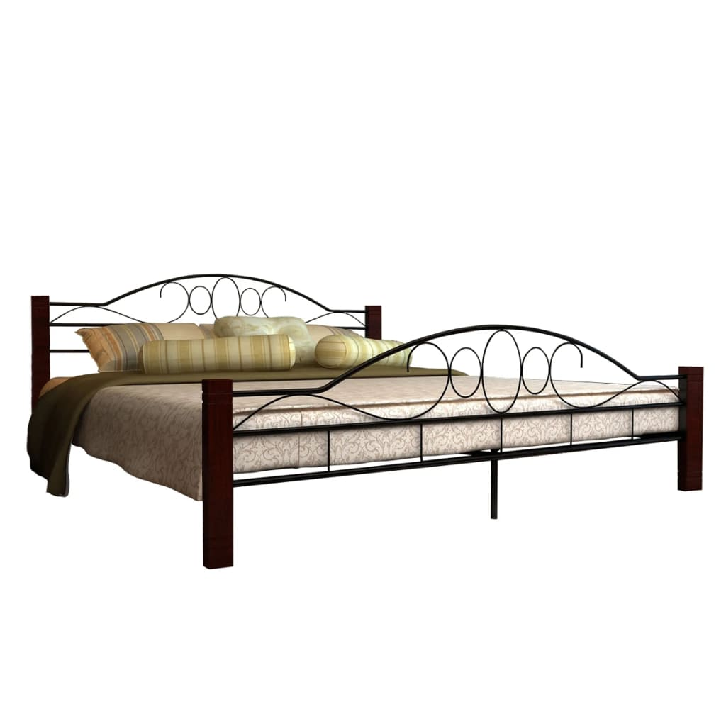 der metallbett doppelbett schwarz rostbraun 180 x 200 cm matratze online shop. Black Bedroom Furniture Sets. Home Design Ideas