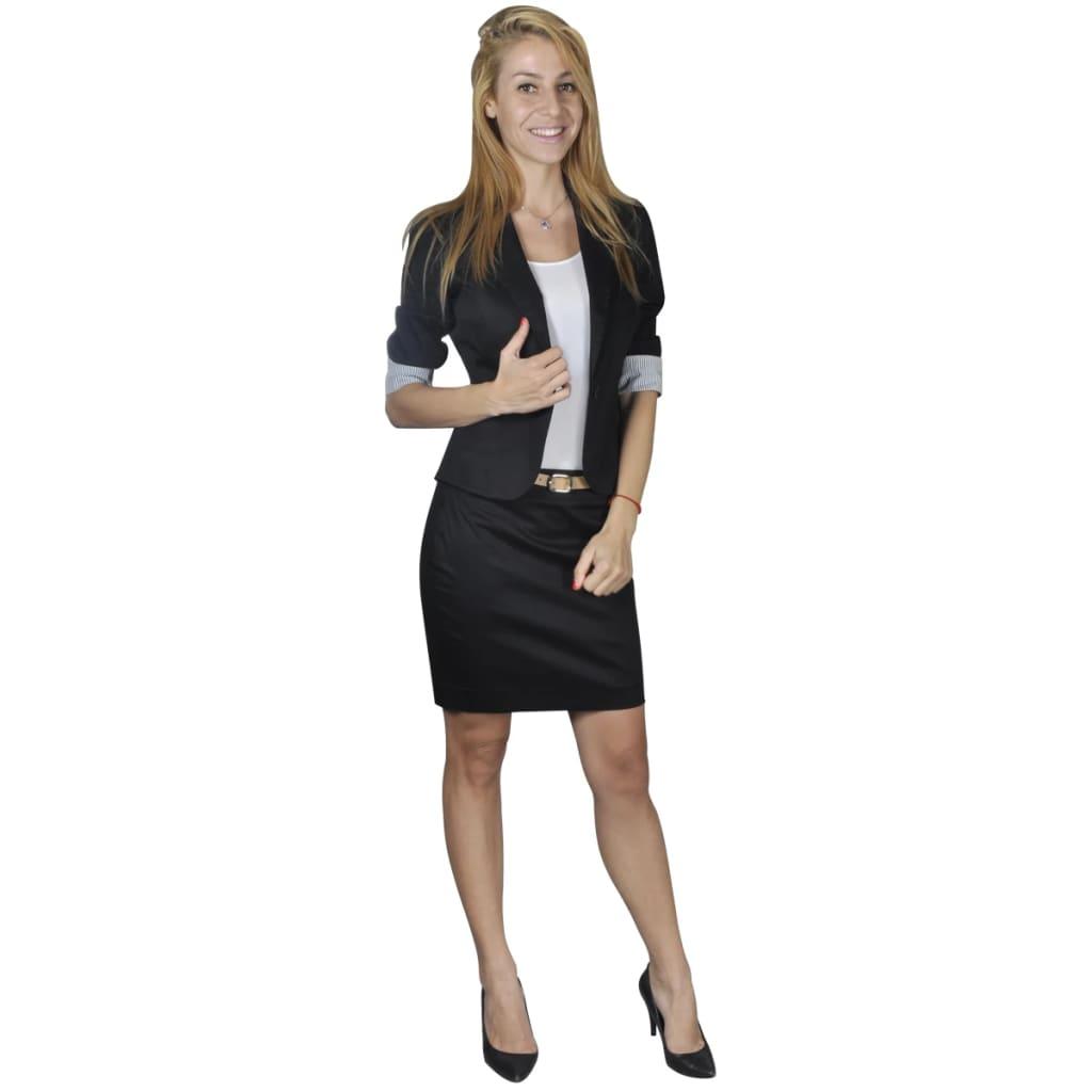 Afbeelding van vidaXL Mantelpak met blazer en rok (maat 34 / zwart)