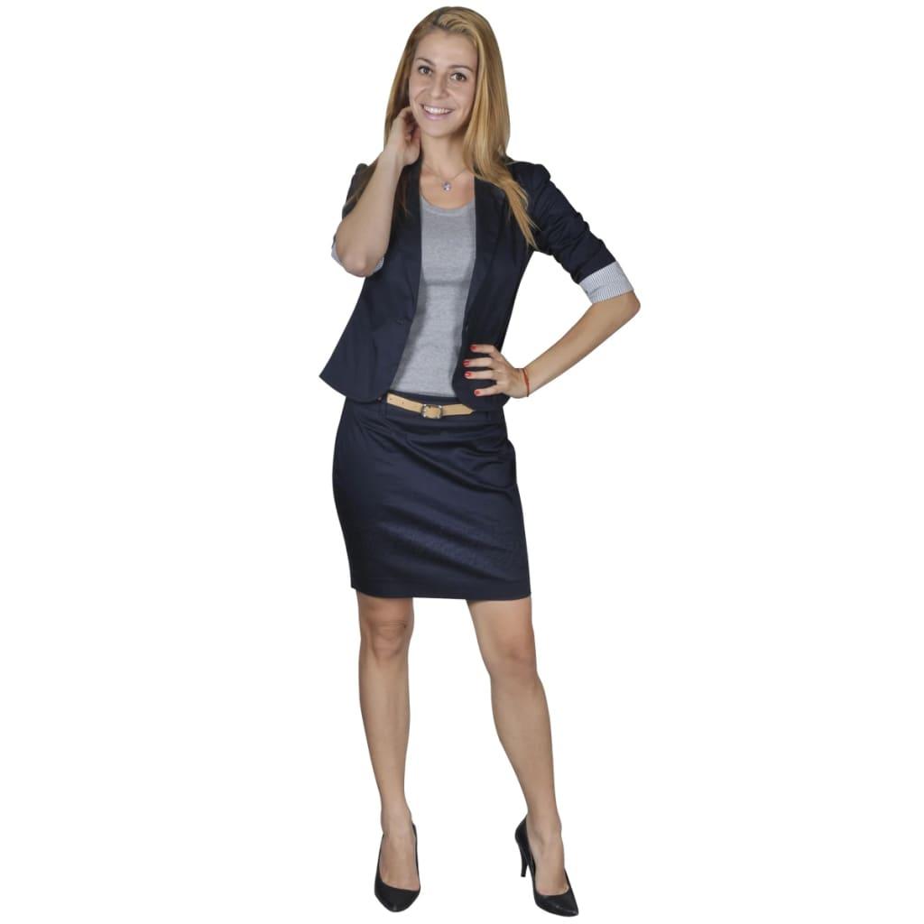 Afbeelding van vidaXL Mantelpak met blazer en rok (maat 34 / marineblauw)