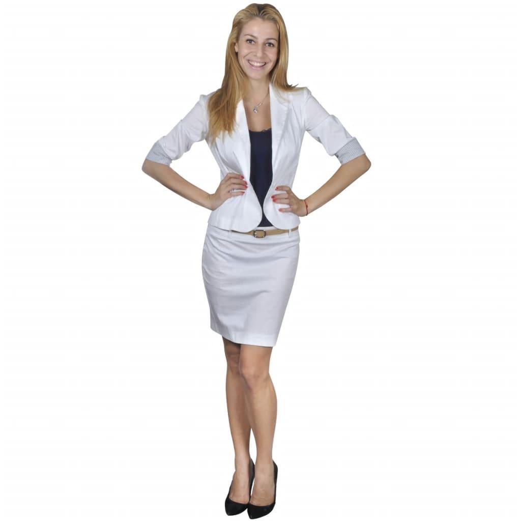 Afbeelding van vidaXL Mantelpak met blazer en rok (maat 38 / wit)