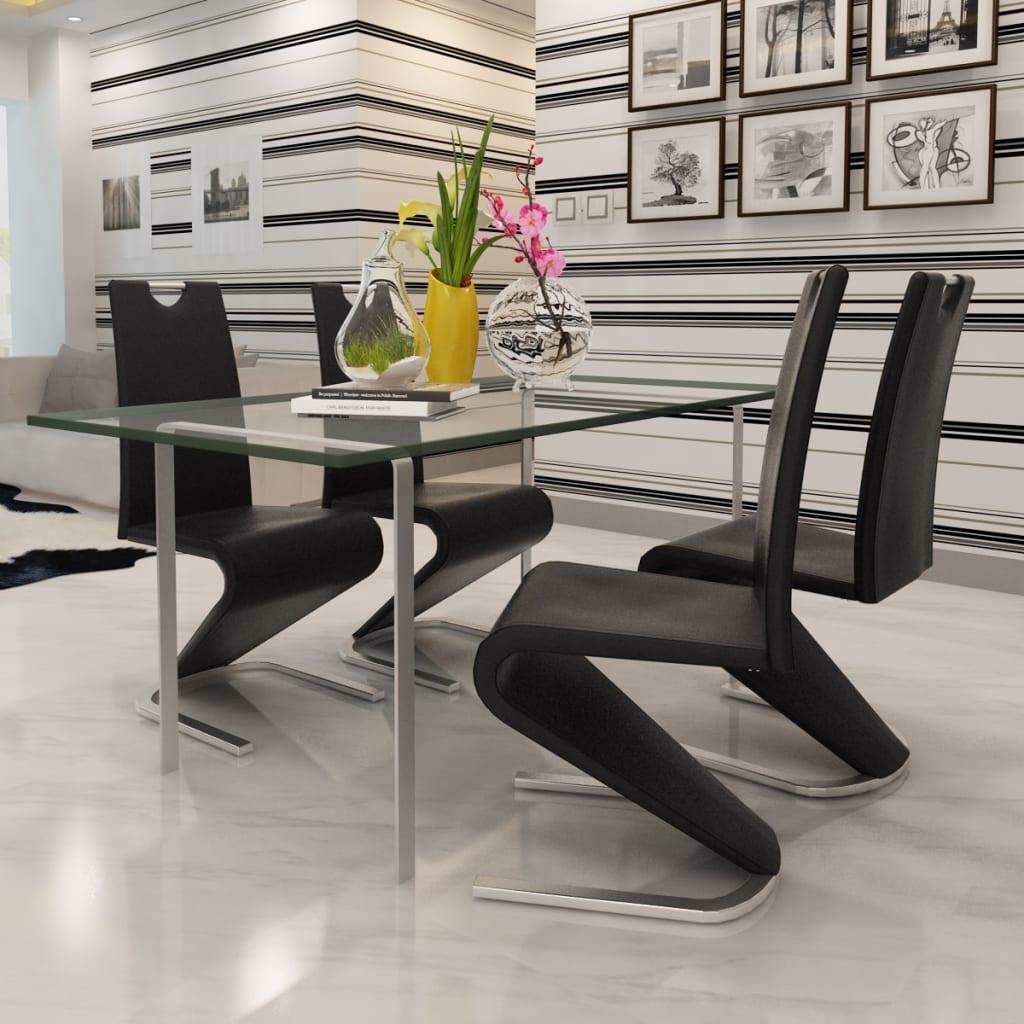 Der 4x esszimmerstuhl kunstleder schwarz freischwinger u for Esszimmerstuhl schwarz kunstleder