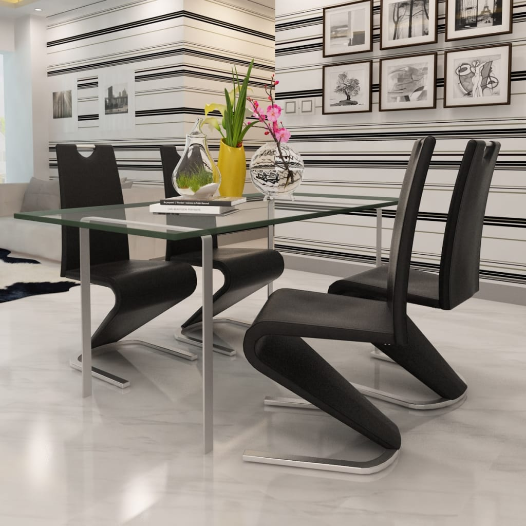 Black Artificial Leather Cantilever Chair With U-shaped