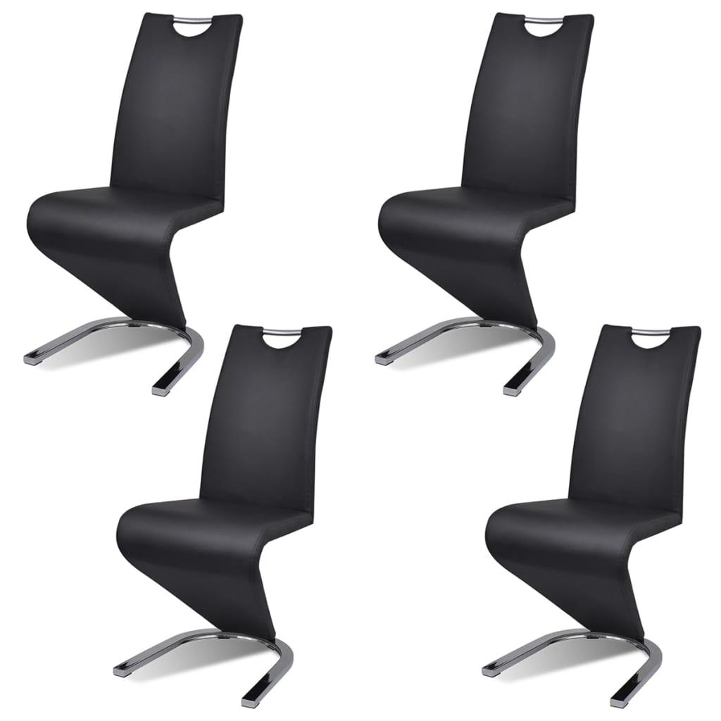 vidaXL Krzesła wspornikowe do jadalni, 4 szt., sztuczna skóra, czarne