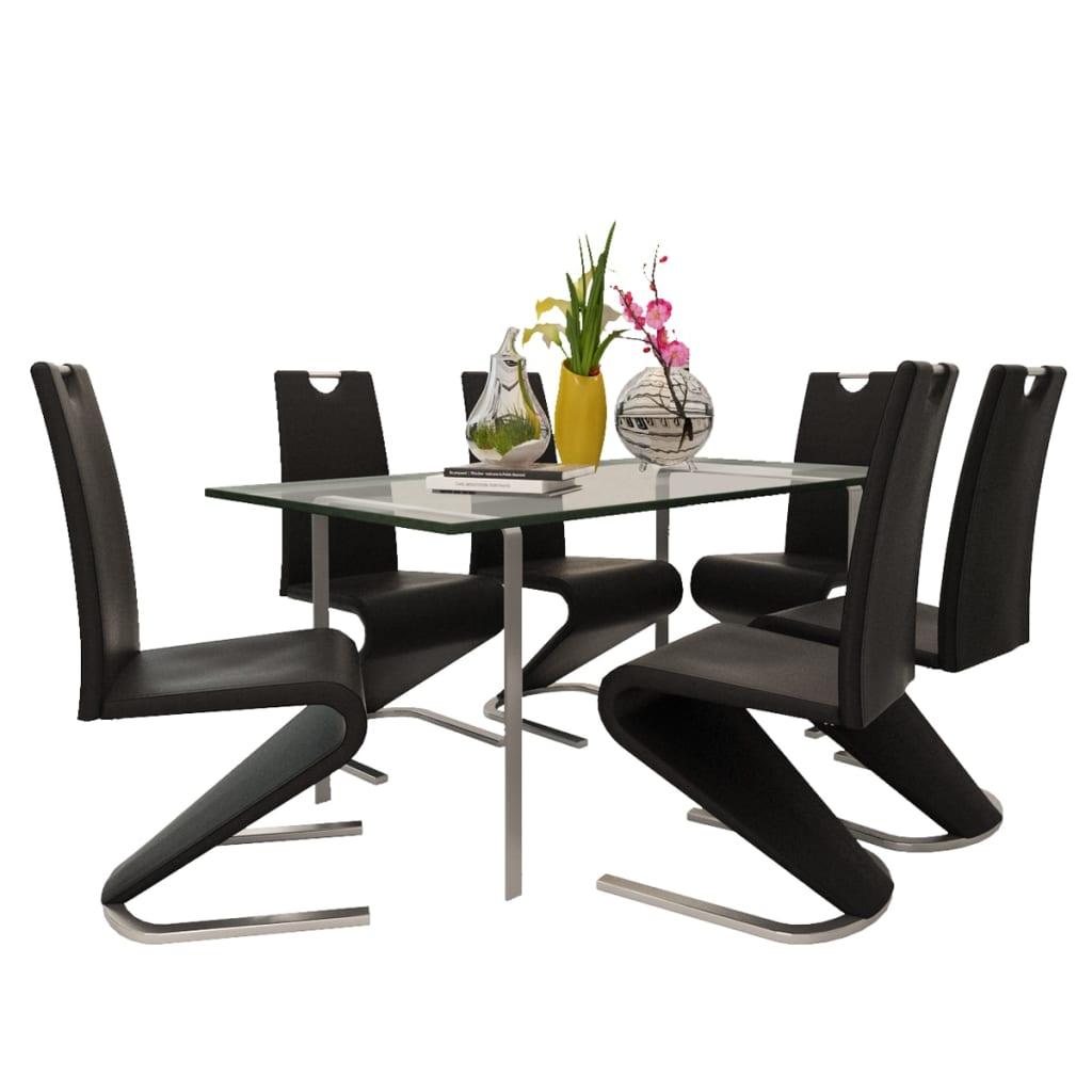 vidaXL-6x-Chaise-Salle-a-Manger-Cantilever-Simili-Cuir-Forme-de-U-Noir-Cuisine