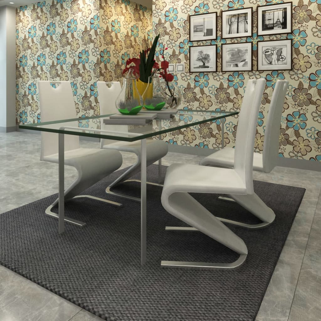 Vidaxl juego de sillas basculantes con base en forma de u 4 pzas blanco ebay - Vidaxl sillas ...