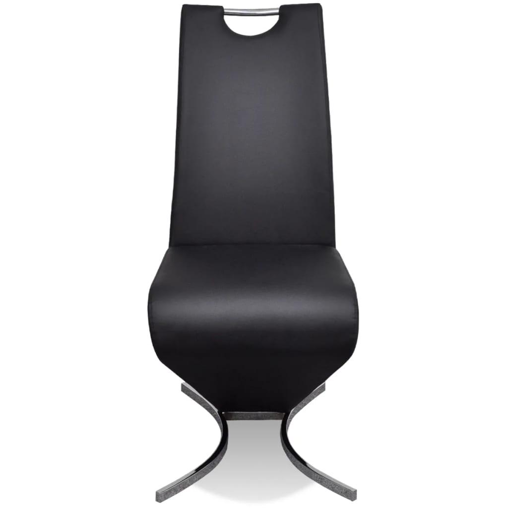 Acheter chaise en simili cuir cantilever avec pieds en for Chaise noir simili cuir pas cher