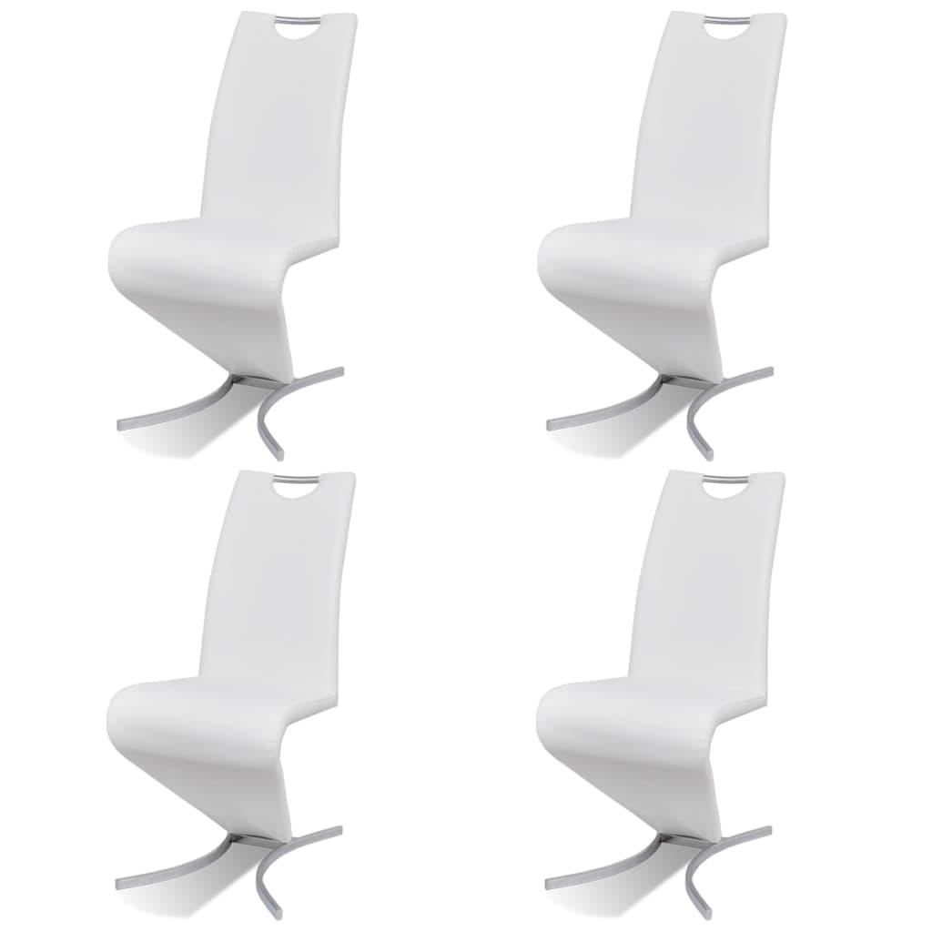 Vidaxl 4x Chaise Salle A Manger Cantilever Simili Cuir Forme H Blanc