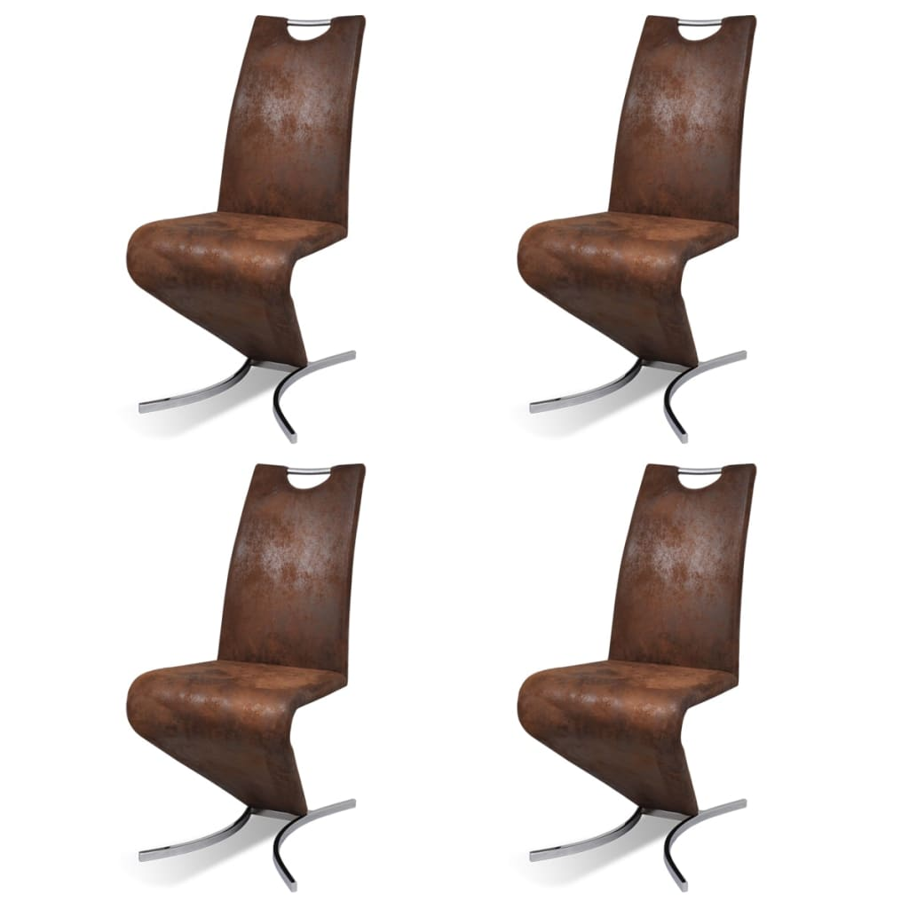 Silla de comedor cantilever h de cuero artificial 4 for Sillas de cuero para comedor
