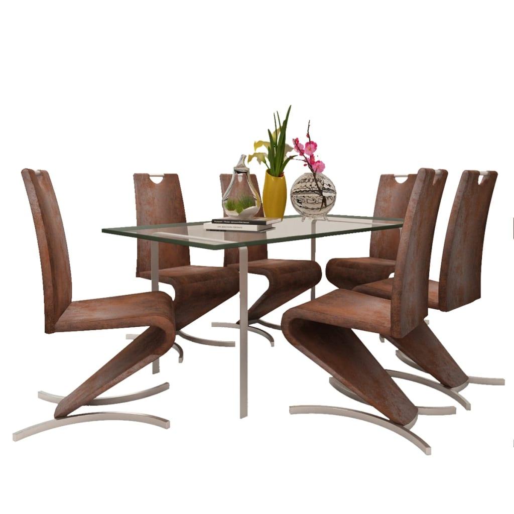 acheter chaise en simili cuir cantilever avec pieds en forme de h brun 6 pcs pas cher. Black Bedroom Furniture Sets. Home Design Ideas