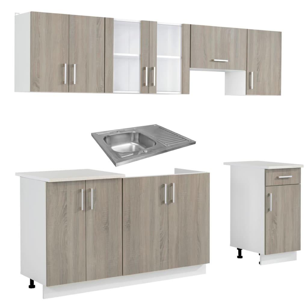 acheter cuisine compl te 7 pi ces aspect ch ne avec vier 80 x 60 cm pas cher. Black Bedroom Furniture Sets. Home Design Ideas