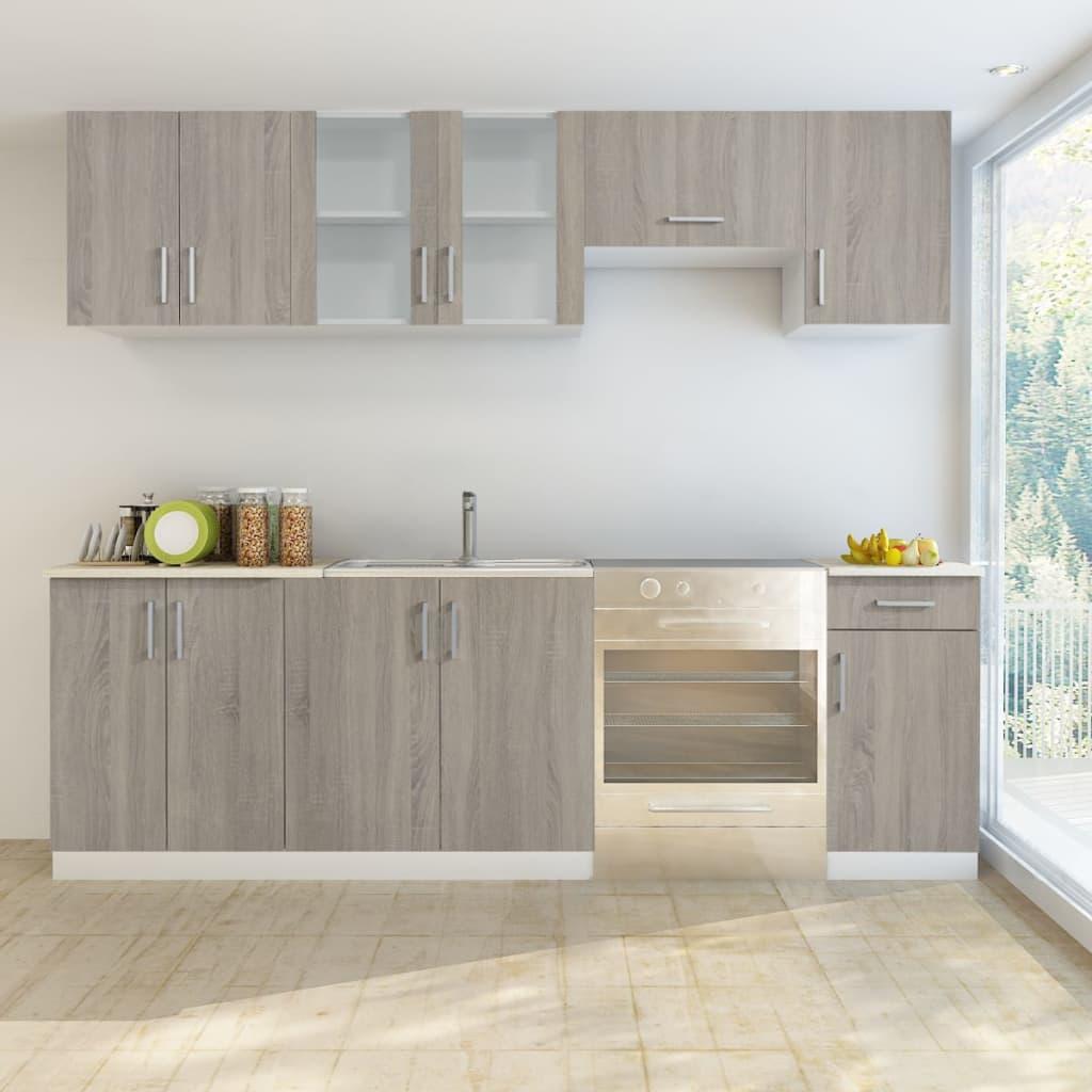 Köksskåp i ek 7 delar med diskho 80 x 60 cm