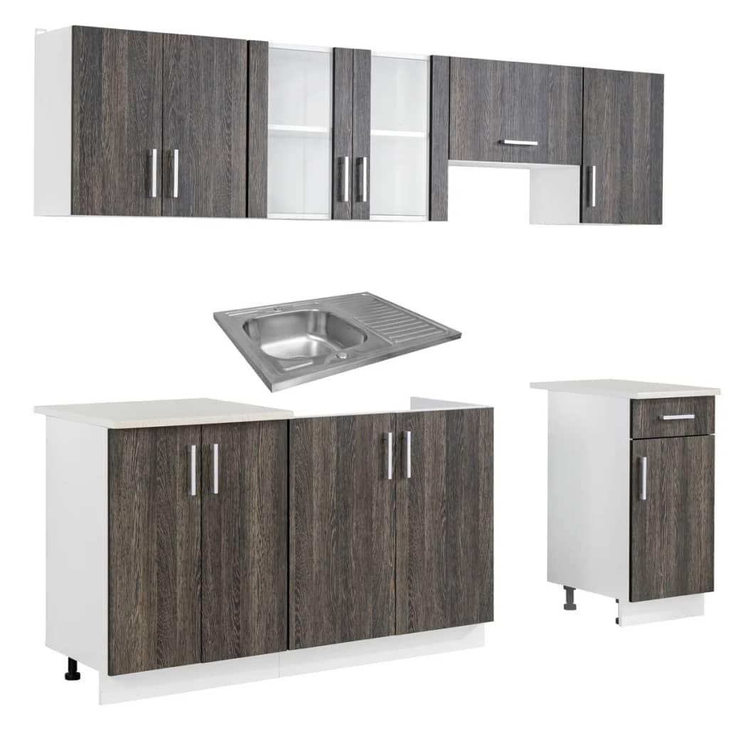 acheter cuisine compl te 7 pi ces weng avec vier 80 x 60 cm pas cher. Black Bedroom Furniture Sets. Home Design Ideas