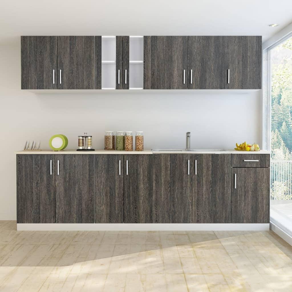 Köksskåp wenge-design set i 8 delar med diskho 80 x 60 cm (241397 + 50297)