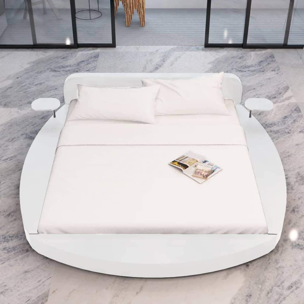 acheter lit en similicuir rond blanc deux tablettes et matelas 180 x 200 cm pas cher. Black Bedroom Furniture Sets. Home Design Ideas