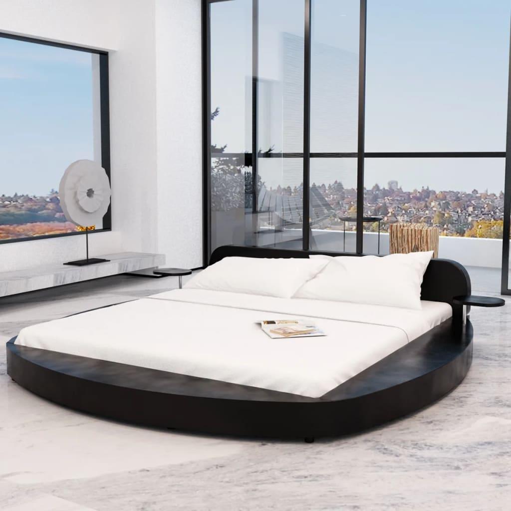 kunstlederbett rundbett schwarz mit 2 tischen 180x200 cm matratze g nstig kaufen. Black Bedroom Furniture Sets. Home Design Ideas