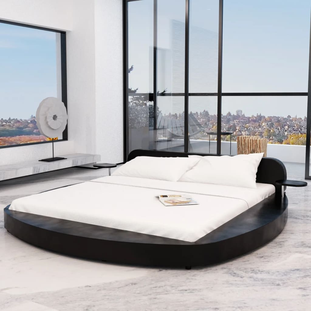 Rund säng konstläder Svart med två sidobord 180 x 200 cm madrass ingår (241141 + 241076)