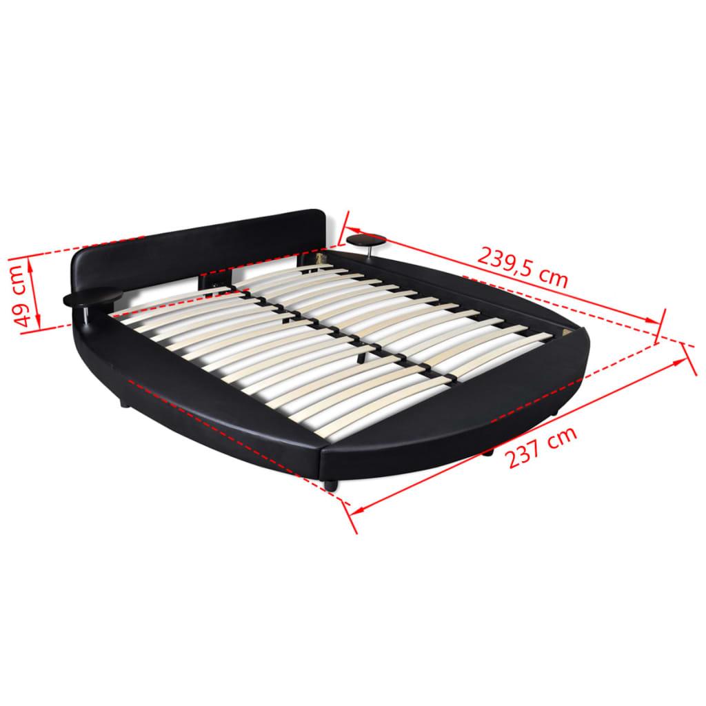 acheter lit en similicuir rond noir 180 x 200 cm avec 2 tablettes et matelas pas cher. Black Bedroom Furniture Sets. Home Design Ideas