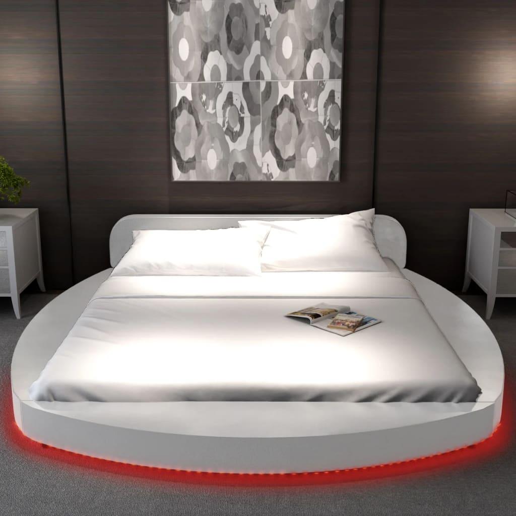 acheter lit en similicuir rond blanc 180 x 200 cm avec bande led et matelas pas cher. Black Bedroom Furniture Sets. Home Design Ideas